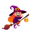 a little witch flies on broom on white background vector image