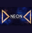 abstract neon shining gold banner on brick wall vector image vector image
