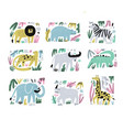 african animals hand drawn flat set vector image
