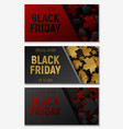 black friday sale web horizontal banners set vector image vector image