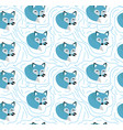 blue fox seamless pattern kids baendless vector image