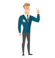 caucasian groom showing the victory gesture vector image vector image