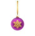 christmas greeting card violet christmas ball vector image vector image
