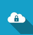 cloud computing lock icon with long shadow vector image