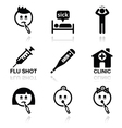 cold flu sick people icons set vector image vector image