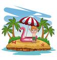 cute boy at beach vector image vector image