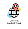 digital marketing icon and sphere with nevigation vector image vector image