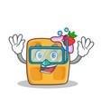 diving waffle character cartoon design vector image vector image
