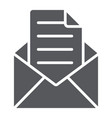 envelope with letter glyph icon mail and post vector image vector image