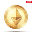 gold coin with ethereum sign vector image vector image