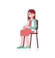 happy pregnant woman sitting on chair and touching vector image vector image
