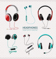 headphones realistic set transparent vector image vector image