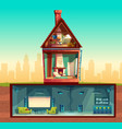 house in cross section basement attic vector image vector image