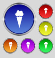 Ice Cream icon sign Round symbol on bright vector image