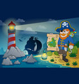 lighthouse with pirate theme 2 vector image vector image