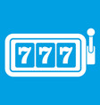 lucky seven on slot machine icon white vector image