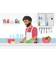 man cooking food young happy bearded chef in vector image
