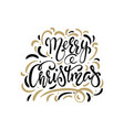 merry christmas text hand drawn lettering vector image