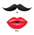 Moustaches With Lips vector image