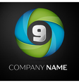 Number nine logo symbol in the colorful circle on vector image vector image