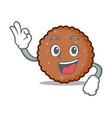 okay chocolate biscuit character cartoon vector image vector image
