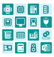 One tone Computer Performance and Equipment Icons vector image vector image