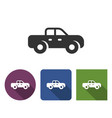 pickup truck icon in different variants with long vector image
