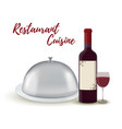 restaurant set - wine bottle silver cloche vector image vector image