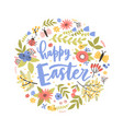 round holiday composition with happy easter vector image