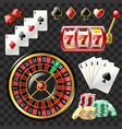 set of casino objects - modern realistic vector image vector image