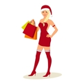 Sexy Woman In Santa Costume with shopping bags in vector image vector image
