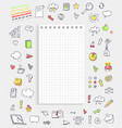 sheet of paper with icons on vector image