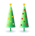 slim christmas trees with yellow and red decoratio vector image