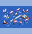 spa salon isometric flowchart vector image vector image
