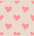tile pattern with pink hearts on pastel background vector image vector image