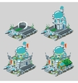 Underwater castle construction process in 4 icons vector image vector image