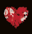 watercolor abstract heart with splashes blood vector image
