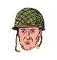 world war two american soldier head drawing vector image vector image