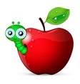 worm coming out of an apple vector image vector image