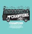 Football Or Soccer Champions Celebrate On Bus vector image