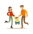 Parents Holding Hands With Kid Happy Family vector image