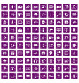 100 multimedia icons set grunge purple vector image vector image