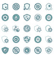 antibacterial defence icons virus and shield vector image