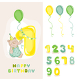 Baby Bear Birthday Card vector image vector image