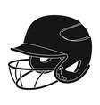 baseball helmet baseball single icon in black vector image vector image