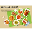 Bbq party flat icon with american cuisine dishes vector image vector image