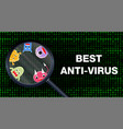 best anti virus scanning data and detect virus vector image vector image