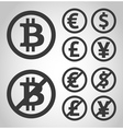 Bitcoin euro dollar font and yen money icons vector image