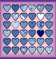blue hearts on a lilac background vector image vector image