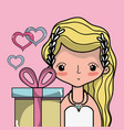 bride lover with gown and hairstyle design vector image vector image